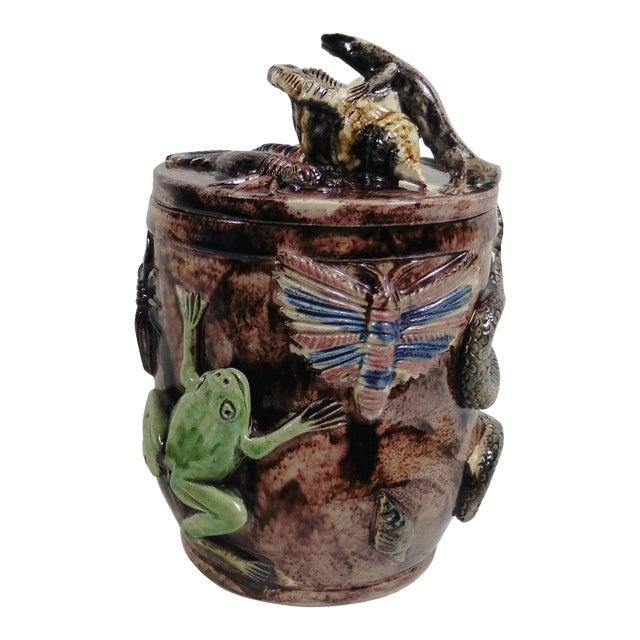 Late 19th Century Antique Manuel Mafra Portuguese Palissy Majolica Jar For Sale