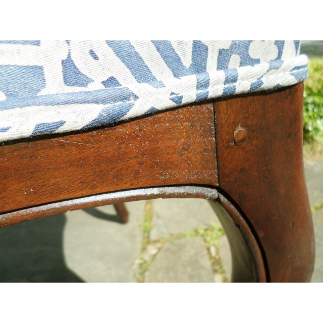 Cerulean Louis XV Fruitwood Side Chair Covered in Fortuny For Sale - Image 8 of 13