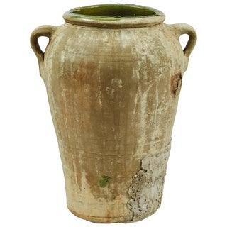 Late 19th Century Matte Textured Green Olive Oil Jar From France For Sale