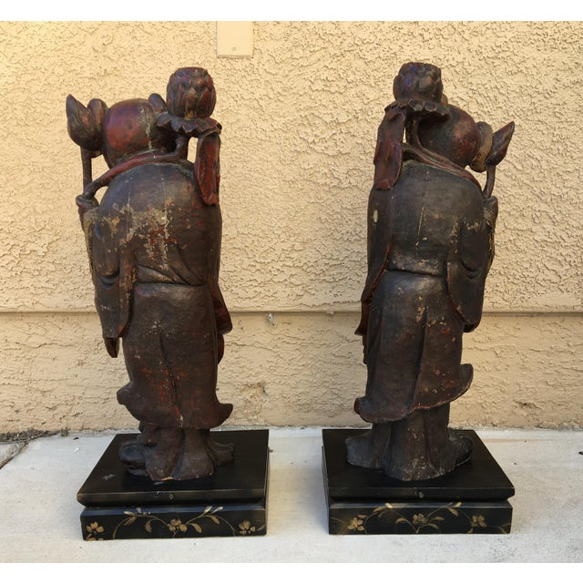 HeHe Erxian Twins Chinese Carved Wood Statues - A Pair For Sale - Image 9 of 11