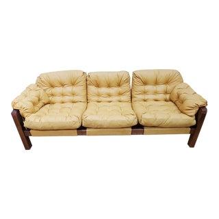 1970s Vintage Brazilian Modern Refurbished Leather Upholstered Percival Lafer Sofa For Sale