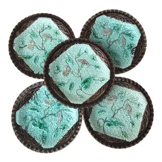 Set of 6 German Majolica Plates with Morning Glory, circa 1900 For Sale