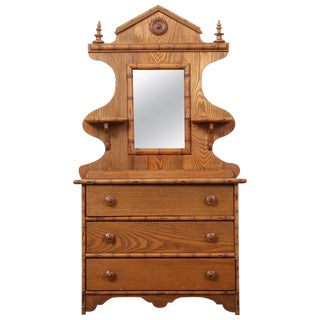 Late 19th Century Diminutive Childs Faux Bamboo Dresser & Mirror For Sale