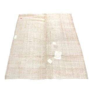 Vintage Turkish White Hemp Kilim Rug- 5′11″ × 7′3″ For Sale