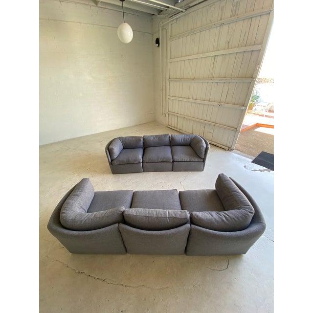 Milo Baughman Milo Baughman Scalloped Back Modular Sectional Sofas - A Pair For Sale - Image 4 of 10