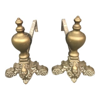 Brass Rococo Cherub Andirons - a Pair For Sale