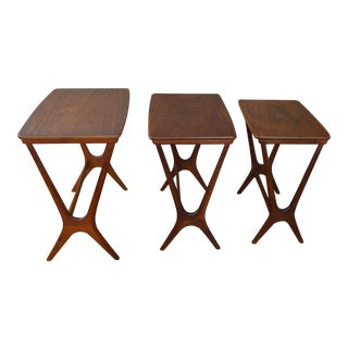 Johannes Andersen Danish Modern Teak Nesting Tables For Sale