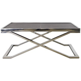 Dark Brown Leather and Stainless Steel Coffee Table For Sale