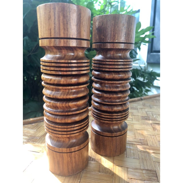 Mid-Century Modern Turned Wood Candlesticks- a Pair For Sale In Charleston - Image 6 of 9