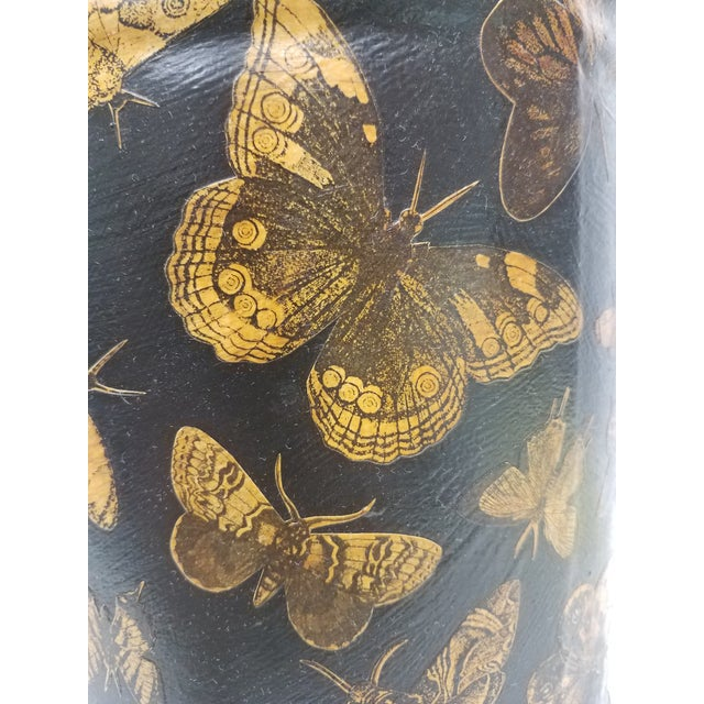 Metal English Antique Bucket / Pail With Decoupage Butterflies - Found in Southern England For Sale - Image 7 of 11