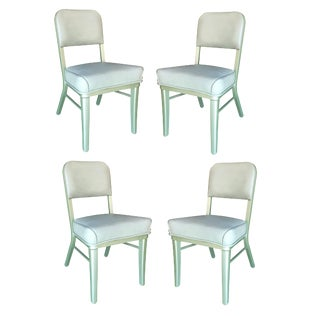Steelcase Industrial Seafoam Green Model 233 Tanker Chairs - Set of 4 For Sale