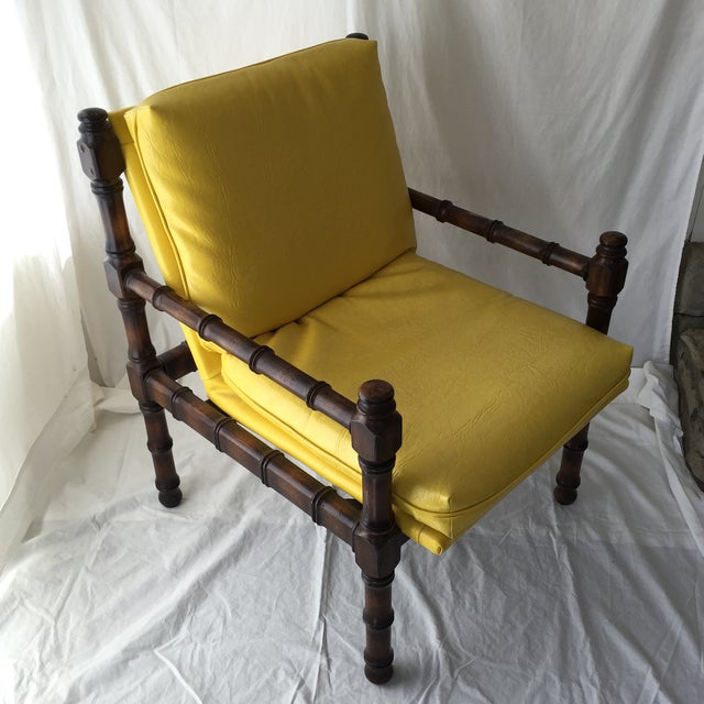 Vintage Bamboo Motif Yellow Chair - Image 2 of 7