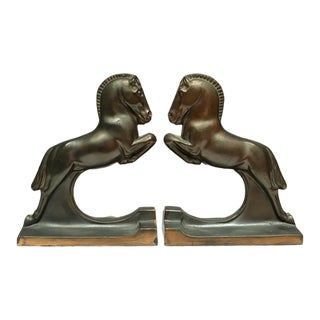 Art Deco Bronze and Copper Horse Bookends by Dodge Inc. C. 1940s