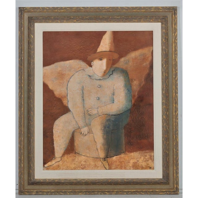1990s Felix Sherman Russian Expressionist Oil Painting of a Clown Angel For Sale - Image 5 of 5