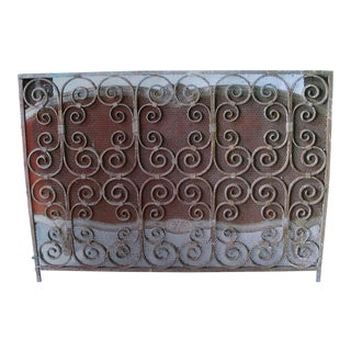 Early 19th Century French Wrought Iron Fireplace Screen For Sale