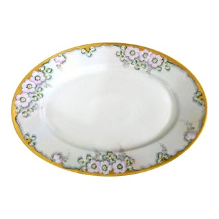 Antique Hand Painted Porcelain Serving Platter For Sale