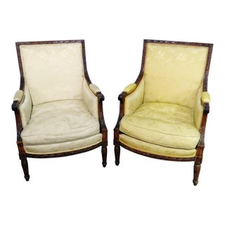 Companion Pair of Louis XVI Style Bergeres For Sale
