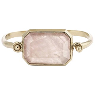 Goossens Paris Pale Gold and Pink Quartz Hinge Bracelet For Sale