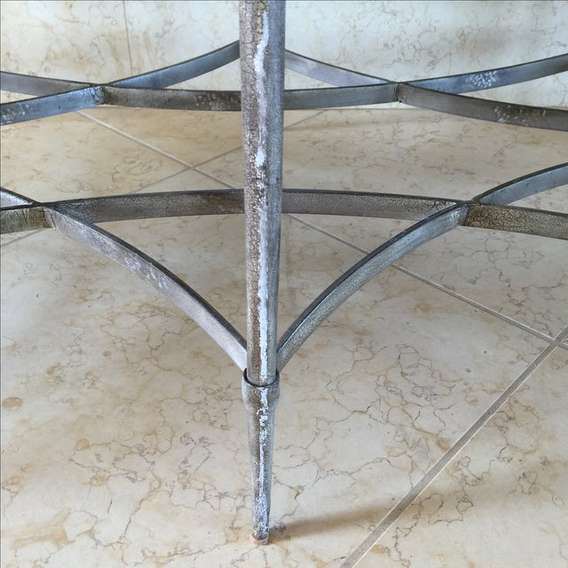 White Faux Stone and Metal Coffee Table For Sale - Image 8 of 9