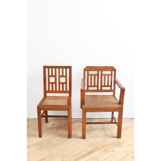 Antique Arts & Crafts Chairs- Hand Caned Craftsman Oak - Image 5 of 11