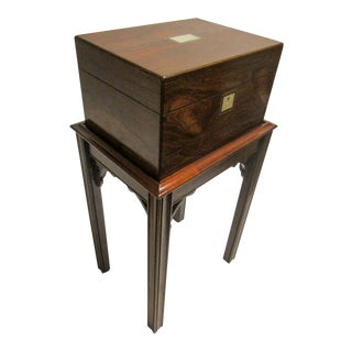 Rosewood Gentleman's Military Campaign Vanity Box With Secret Drawer For Sale