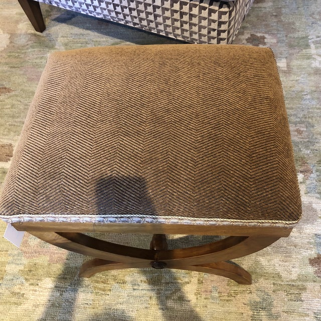 Italian Upholstered Walnut Bench For Sale - Image 4 of 11