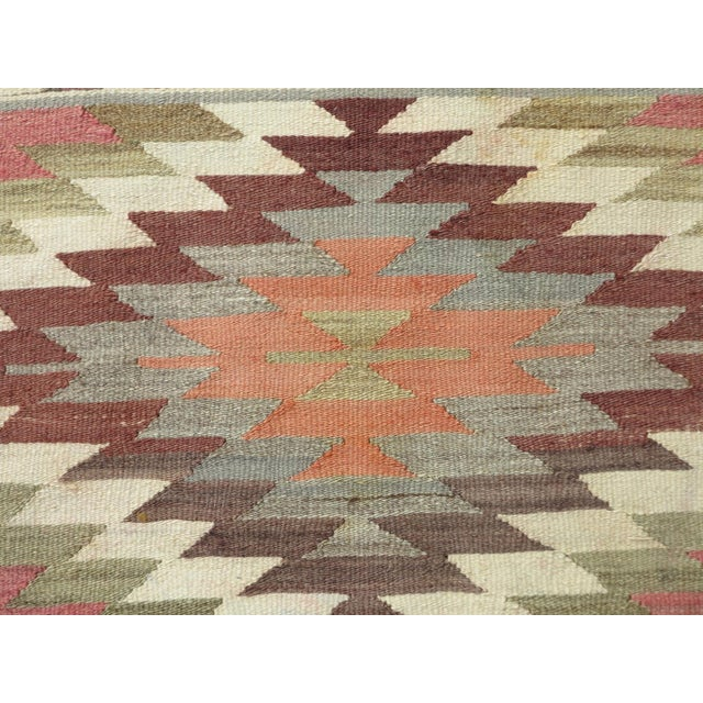 "Green Anatolian Kilim Runner Pastel Colored Hallway -2'1'x10"" For Sale - Image 8 of 13"