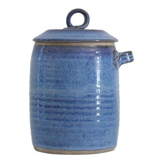 Hand-Thrown Blue Ceramic Canister