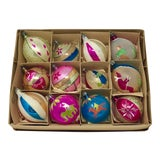 Image of Large Christmas Vintage Hand-Painted Brite European Holiday Ornaments - Set of 12 For Sale