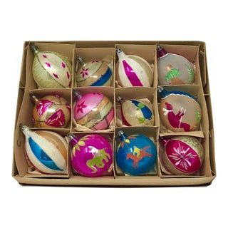 Large Christmas Vintage Hand-Painted Brite European Holiday Ornaments - Set of 12 For Sale