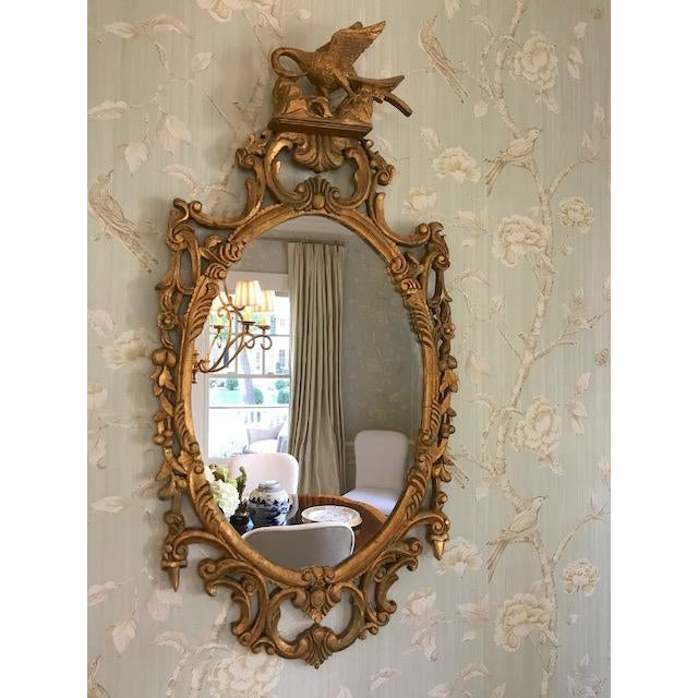 A hand carved gilt-wood mirror with ornate swan motif. Beautiful patina to the gilt detail. Mirror is in excellent shape....