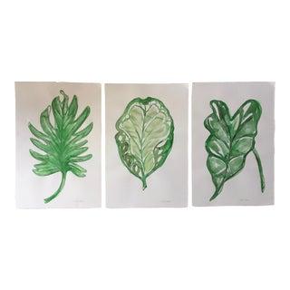 Tropical Green Leaf Watercolors-Set 3