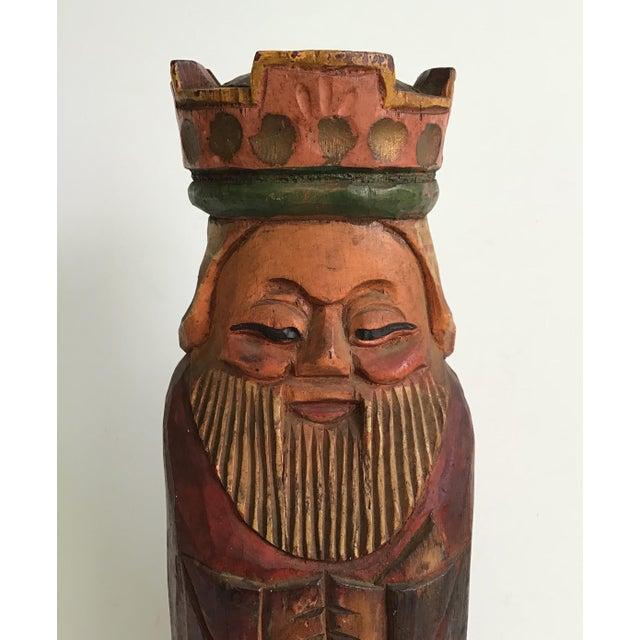 1950s Vintage Carved Wood King Wine Bottle Holder For Sale - Image 5 of 7