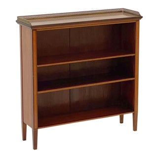 English Open Bookcase of Inlaid Mahogany From the the Edwardian Period For Sale