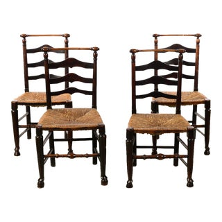 18th Century Country Carved Ladder Back Chairs - Set of 4