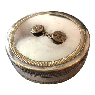 1970s Christian Dior Silver Plated Round Roman Coins Decorative Box Jewel Case For Sale