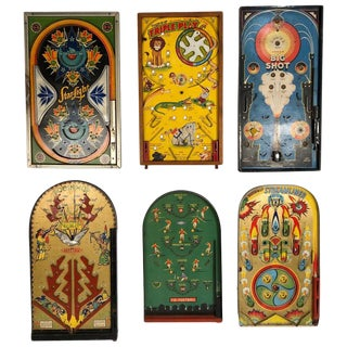 Antique Table Top Pinball Game Board Collection, Set of 6, Circa 1920-1940 For Sale