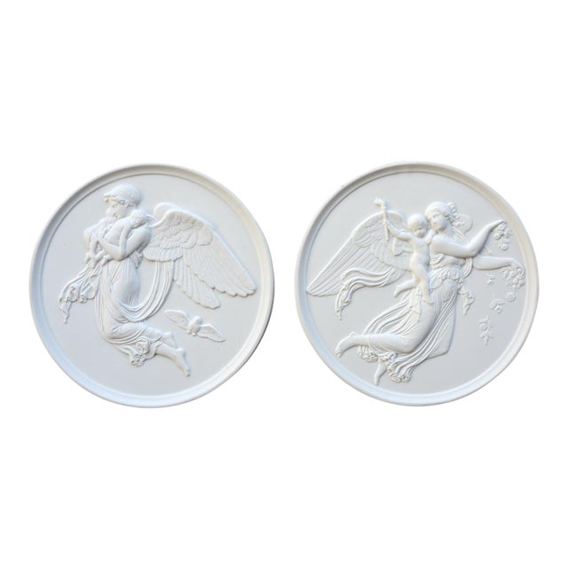 Danish Bing & Grondahl Bisque Porcelain Relief Angel Wall Plaques - a Pair For Sale