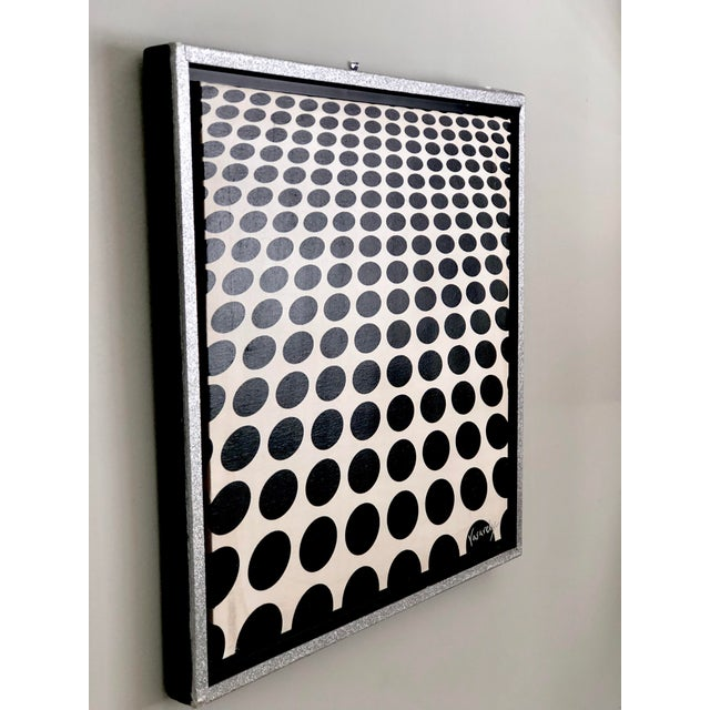 Victor Vasarely Black and White Op Art Painting in the Manner of Vasarely For Sale - Image 4 of 7