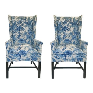 Hickory Chair Co Wing Chairs Blue Foliage Toile on White - a Pair For Sale