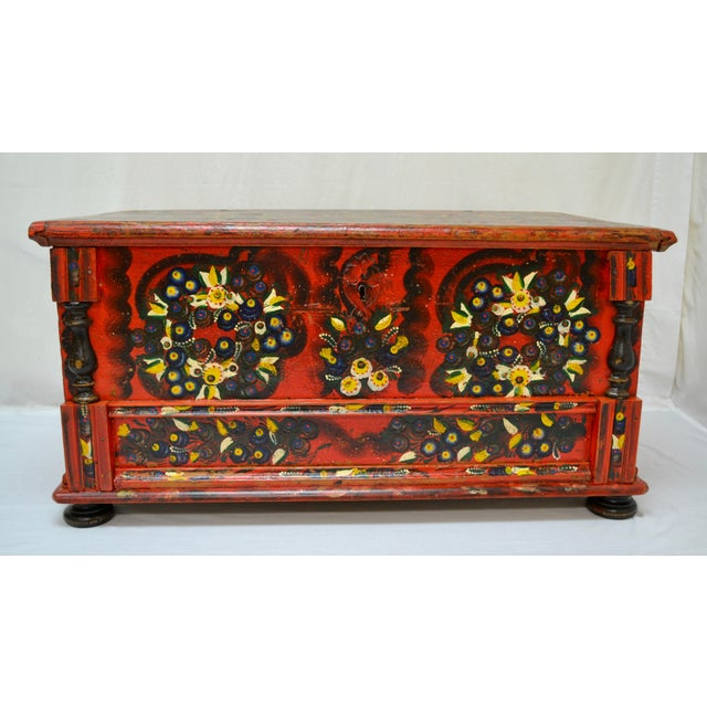 Hungarian Pine Trunk or Blanket Chest in Original Paint For Sale - Image 13 of 13