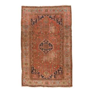 Antique Rust Heriz Serapi Persian Rug For Sale