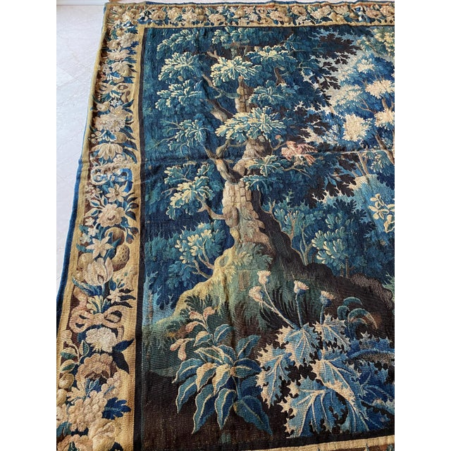 Antique Square 17th Century Flemish Verdure Landscape with Birds Tapestry For Sale - Image 9 of 10