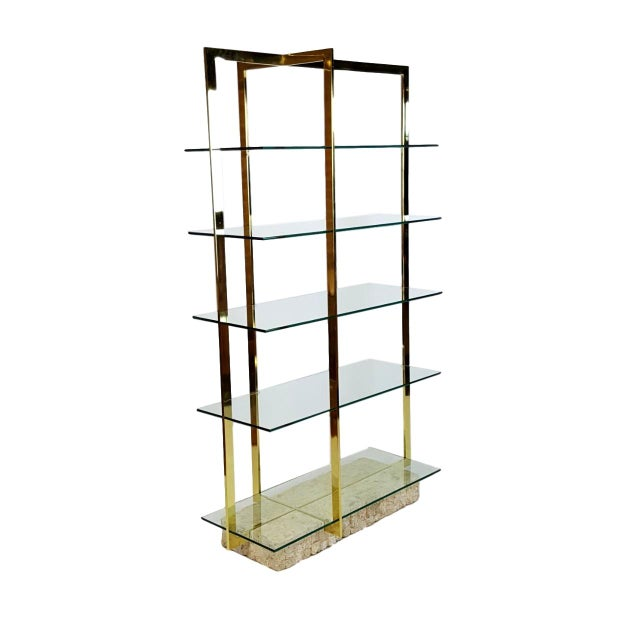 Brass Etagere With Faux Tesselated Marble Base - Image 1 of 5