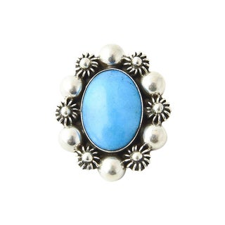 Mexican Turquoise in Silver Floral Frame Brooch For Sale