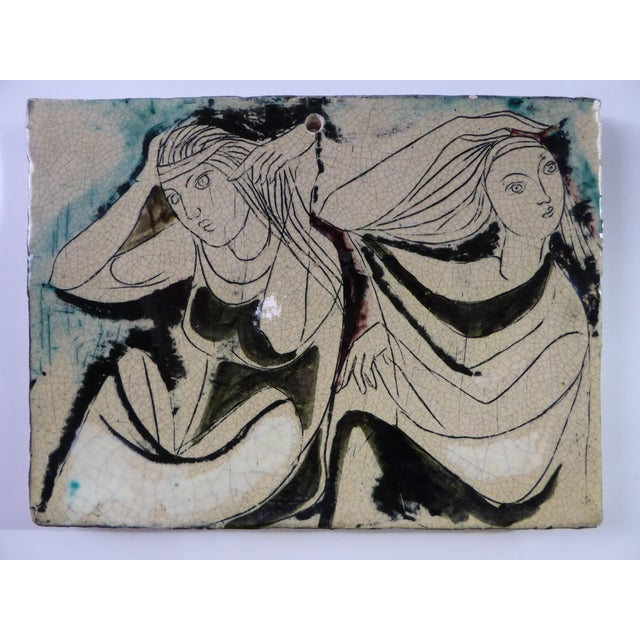 1950s 1950s Swiss Modern Pottery Wall Plaques by Philippe Lambercy - Set of 3 For Sale - Image 5 of 13