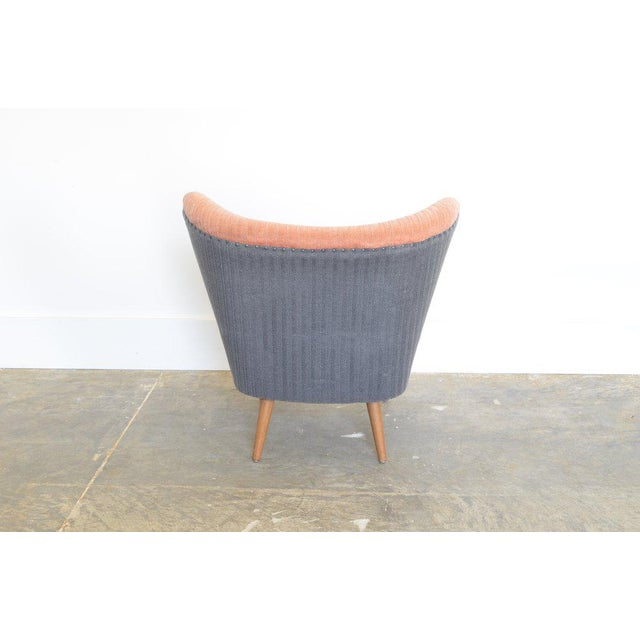 Vintage Danish Cocktail Lounge chair. Materials: Solid wooden body upholstered with original two tone striped velvet...