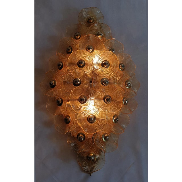 Contemporary Large Mid-Century Modern Murano Glass Sconces/Flush Mounts Attr to Venini - a Pair For Sale - Image 3 of 11