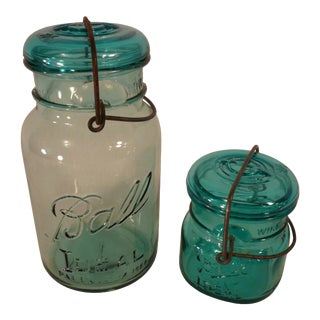 Vintage Blue Tinted Ball Mason Jars - a Pair For Sale