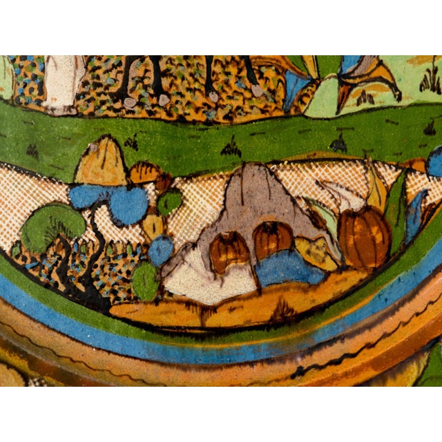 Mid 20th Century Tlaquepaque 1930s Mexican Hand-Painted Ceramic Charger Tray For Sale - Image 5 of 11